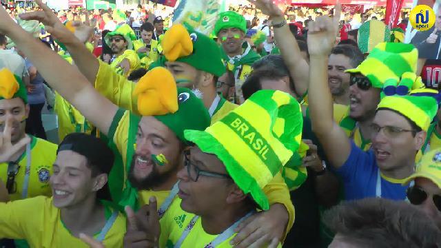 الجماهير البرازيلية تصنع الحدث قبل إنطلاق لقاء صربيا