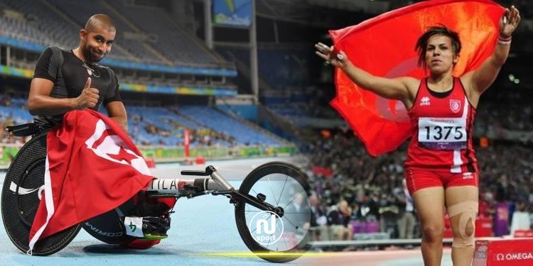 وليد كتيلة وروعة التليلي يحملان العلم التونسي في افتتاح الألعاب البارالمبية